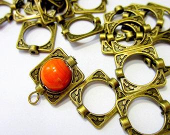 YY3-24 Square Tibetan bronze Bead Frames Lead Free  Cadmium Free,  Antique Bronze connectors 16x14x3mm 6761-051-3