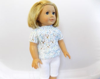 Doll Shirt and Leggings Outfit, 18 Inch Doll Clothes, Knit Doll Clothes, Fits American Girl Doll