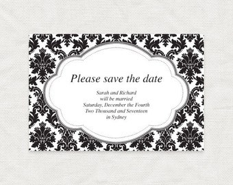 save the date template damask diy wedding printable, downloadable download, engagement announcement black and white elegant budget friendly