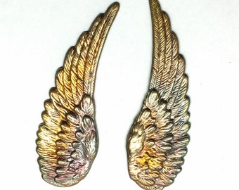 Wings, Medium Spectrum Rainbow Wings, 1 7/8 Inches Long, Unique Patina, Heat Treated To Bring Out The Rainbows, Great Jewelry Supplies, USA