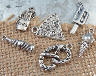 6 Assorted JUNK FOOD Charm Collection -Each One Different, Antique Silver - Pizza, Popsicle, Ice Cream Cone, Pretzel, Soda, French Fries