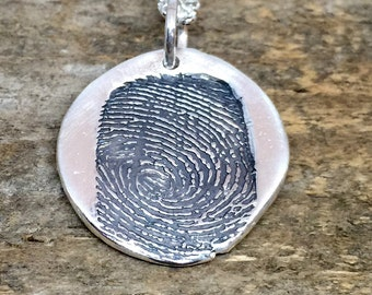 Custom Silver Fingerprint Necklace