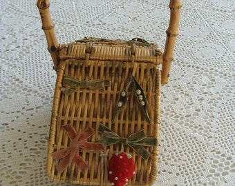 Vintage Sewing Basket Purse with Velvet Bows & Strawberry Pin Cushion and Pearl Peas