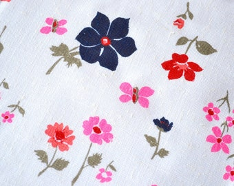 Vintage Fabric - Mod Flowers and Butterflies on White Linen - By the Yard