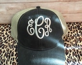 Personalized Navy or Black Distressed Trucker Hat Monogrammed Unisex Hats