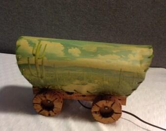 Covered Wagon Southwest  Lamp 1950's Cactus Wood (k-64)