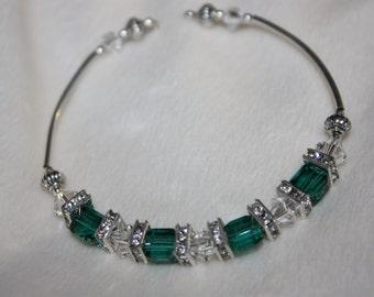 Emerald Green Crystal Bangel Bracelet