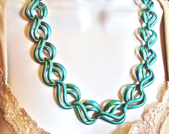 Vintage Iridescence Pearlescence Hand Painted Pantene 2016 Sea Serenity Blue Turquoise Aqua  1960s  Necklace Choker Swirled Gold Artisa Mod