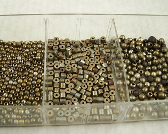 Beading Supplies Tray of Assorted Vintage Beads in Brass Metal