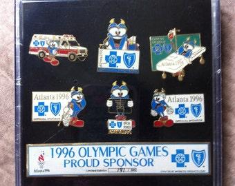 1996 Atlanta Olympics Blue Cross Blue Shield Sponser Pin Set