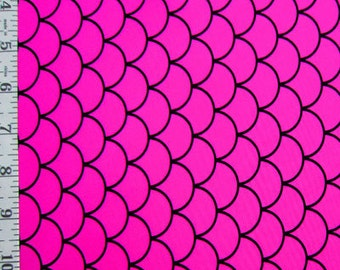 Hot Pink on Black Fishscale Print Spandex