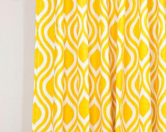 Lined drapes with back tabs, curtain panels, Nicole yellow and white cotton