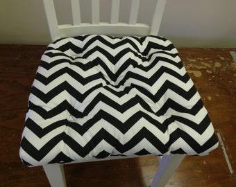 RTS Tufted  chair pad, seat cushion, bar stool cushion, zig zag chevron navy blue and white