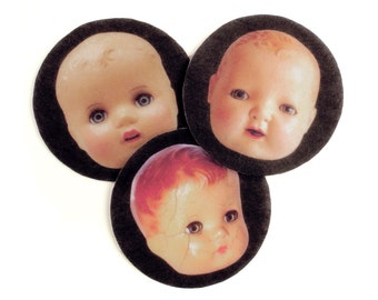 Creepy Doll Heads Felt Patches, iron on, sew on, applique for jean jackets