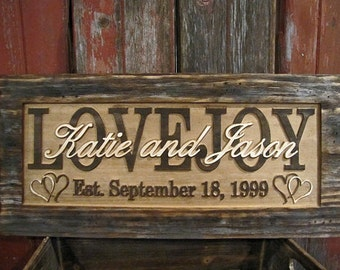 Personalized Family Name Signs Personalized wedding gift CARVED Wooden Sign Last name Distressed Hand Weathered Custom Plaque
