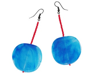 Upcycled vintage  blue & red bead earrings 80s style