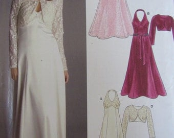 New Look 6507 Uncut Sewing Pattern Misses 8-18 Evening Gown Wedding Bridal Dress and Shrug Jacket