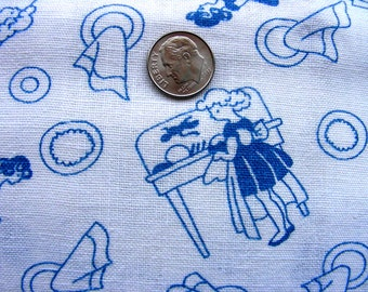 Vintage  Feedsack Cotton Quilting Fabric   //  Little Girls Washing & Hand Drying Dishes    // 36 x 42