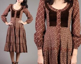 vintage GUNNE SAX brown VICTORIAN velvet floral prairie hippie midi dress 70s 1970s extra small xs 9