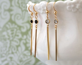 gold filled earrings with Swarovski glass jewels