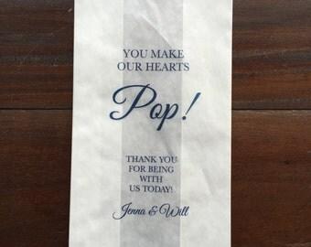 Popcorn Bag Wedding Favor, Personalized Favor Bag, Custom Favors
