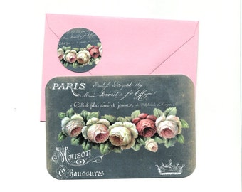 Note Cards, Floral Cards, Rose Cards, French, French Note Card Set, Stickers