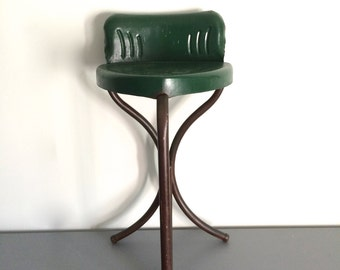 Vintage Industrial Green Metal Stool Seat Chair