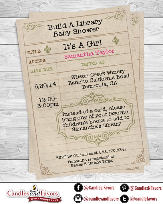 Library card baby shower invitation professionally printed or il570xn filmwisefo
