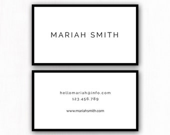 Premade Business Card Design, Custom Business Card, Modern Business Card Template, Printable Business Cards, Modern Minimalist Calling Cards