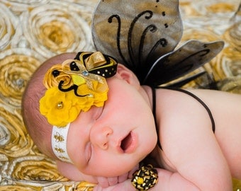 Bumble Bee Sculpted Stretch Headband Black Gold White Yellow Satin Rosette First Birthday Outfit Photo Prop newborn baby girl gift honey bee