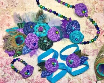 baby peacock headband necklace bracelet barefoot sandals set little girl baby shower