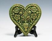 Springerle Heart Ornament Valentines Gift Valentines Heart Chalkware Ornament Chalkware Heart Ornament Springerle Heart