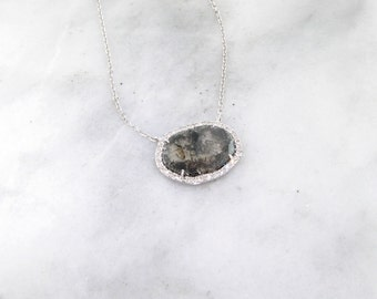 Rough Diamond Slice Necklace, White Gold