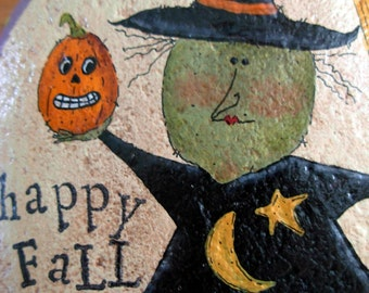 Happy Fall Witch with Pumpkin | River Stone|Garden/Fall Decor