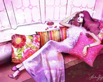 """SALE: """"Rose Colored Afternoon"""" Fashion Girl 11x14 Fine Art Print"""