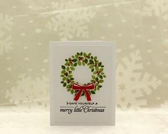 Christmas Cards, Christmas Card Set, Green and Red Christmas Cards, Wreath, Holly Wreath, Christmas Wreath, Merry Little Christmas Card Set