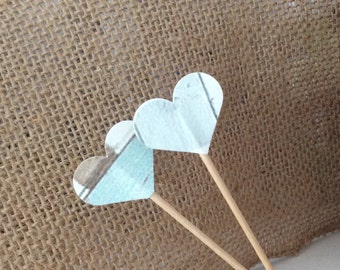 12 Rustic Heart Cupcake Toppers, Appetizer Picks Wood Grain, Beach Theme Wedding Shower Celebration