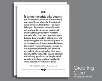 The Man In The Arena, Graduation Card, Father's Day Card, inspirational quote, famous speech, card for him, history gift, Roosevelt speech