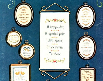 Anniversary Quickies Miniature Ornaments Anniversary Flowers Bows Hearts Love Birds Counted Cross Stitch Embroidery Craft Pattern Leaflet 15