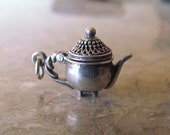 Vintage Sterling Silver Ornate Teapot Charm Pendant Hinged Lid Opens
