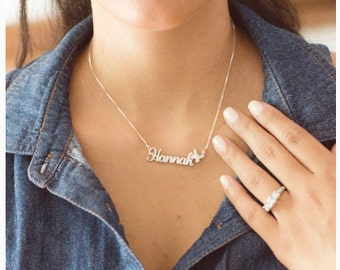 Custom Double Thick Silver Name Necklace Personalized Name Necklace, with Any Name up to 10 letters, steerling silver, bridesmaid gift