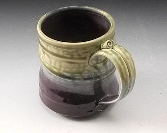 Purple and Green Mug  Handmade Pottery Porcelain by Mark Hudak