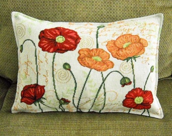 Floral Tapestry Pillow Red and Orange Poppies Spring Pillow