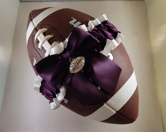 Football Toss Garter Eggplant Purple Bow White Satin Football Charm Wedding Accessories Football Band ( Football not included)