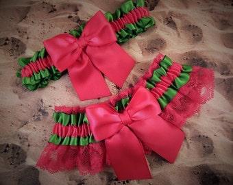 Lime Green Satin Hot Pink Bow Hot Pink Fuchsia lace Wedding Bridal Garter Toss Set