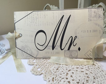 Mr. and Mrs. Signs Placecard Vintage Travel Bride and Groom Vintage Travel Ticket Wedding Table Placecards... Set of 2