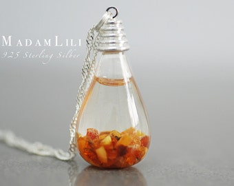 "Mini 925 Sterling Silver ""Amber & Seawater"" Necklace"