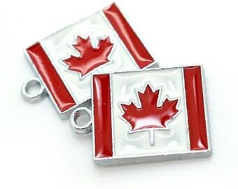 Canada Flag Charm, 5pcs, 23x18mm, Canadian Flag – C553