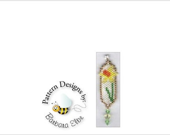 Daffodil Beaded Earring Pattern - Brick Stitch or Peyote Stitch #245