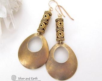 Brass Hoop Earrings, Gold Hoop Earrings, Exotic Boho Chic Modern Jewelry, Gold Dangle Earrings, Filigree Earrings, Handmade Metal Jewelry